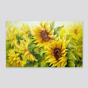 Sunflowers Oil Painting 3'x5' Area Rug