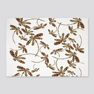 Golden Dragonfly Frenzy 5'x7'Area Rug