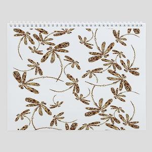 Golden Dragonfly Frenzy Wall Calendar