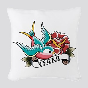 Vegan sparrow tattoo design Woven Throw Pillow