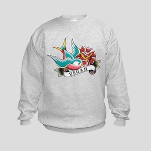 Vegan sparrow tattoo design Kids Sweatshirt