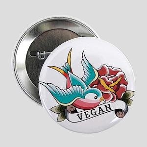 "Vegan sparrow tattoo design 2.25"" Button"