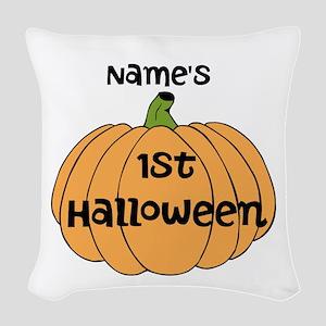 Custom 1st Halloween Woven Throw Pillow