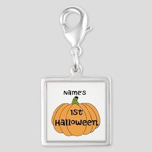 Custom 1st Halloween Silver Square Charm
