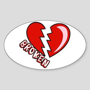Broken Hearted Anti-Valentine Oval Sticker