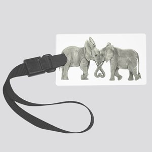 Elephants in Love Large Luggage Tag
