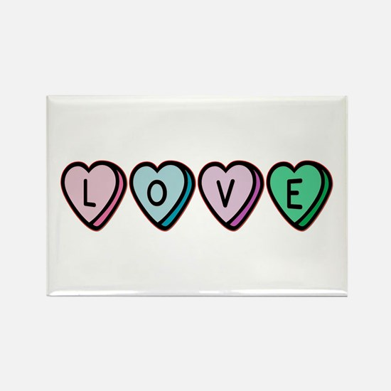 Love (Candy Hearts) Rectangle Magnet