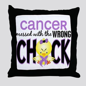 Cancer Messed With Wrong Chick Throw Pillow