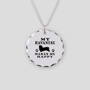 My Havanese makes me happy Necklace Circle Charm