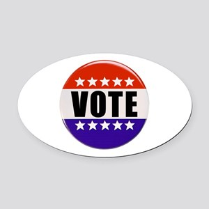 Vote Button Oval Car Magnet