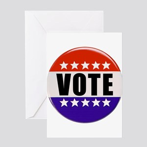Vote Button Greeting Cards