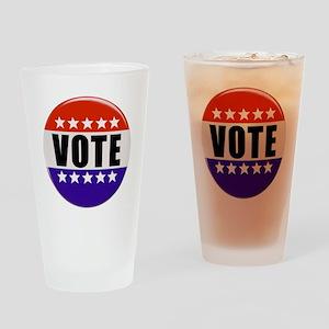Vote Button Drinking Glass