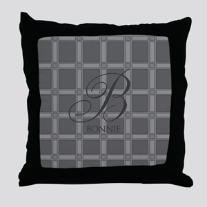 Custom Monogram Charcoal Throw Pillow