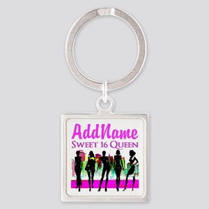 16TH NYC CHICK Square Keychain