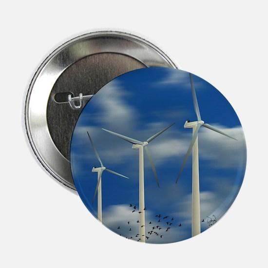 "Wind Turbine Blue Clouds 2.25"" Button"