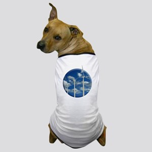 Wind Turbine Blue Clouds Dog T-Shirt