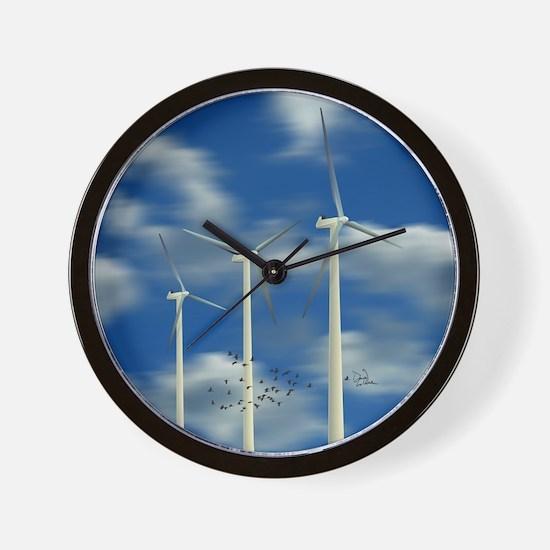 Wind Turbine Blue Clouds Wall Clock