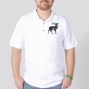 Red Deer Stag (Front) Golf Shirt