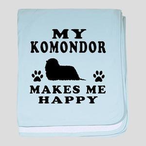 My Komondor makes me happy baby blanket