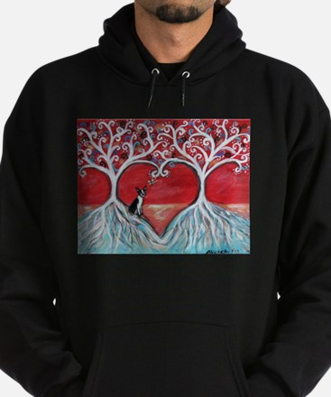 Boston Terrier love heart trees Hoodie