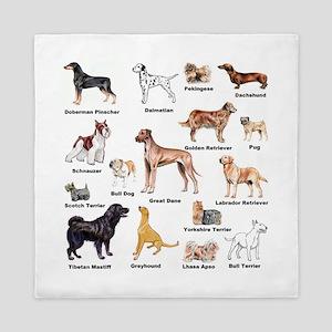 Dog Types Queen Duvet