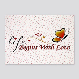 Life Begins with Love 5'x7'Area Rug
