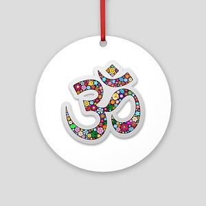 Om Aum Namaste Yoga Symbol Ornament (Round)