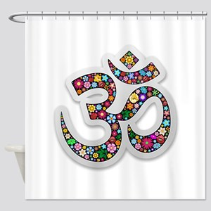 Om Aum Namaste Yoga Symbol Shower Curtain