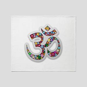 Om Aum Namaste Yoga Symbol Throw Blanket
