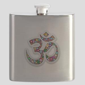 Om Aum Namaste Yoga Symbol Flask