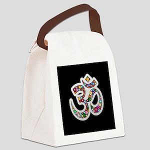 Om Aum Namaste Yoga Symbol Canvas Lunch Bag