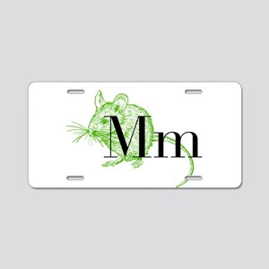 M is for Mouse Aluminum License Plate