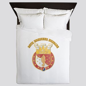 DUI - 36th Engineer Brigade with Text Queen Duvet