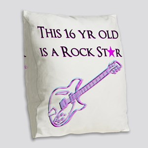 16TH ROCK STAR Burlap Throw Pillow