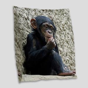 Chimpanzee003 Burlap Throw Pillow