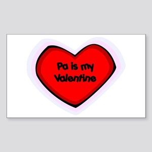 Pa is My Valentine Rectangle Sticker