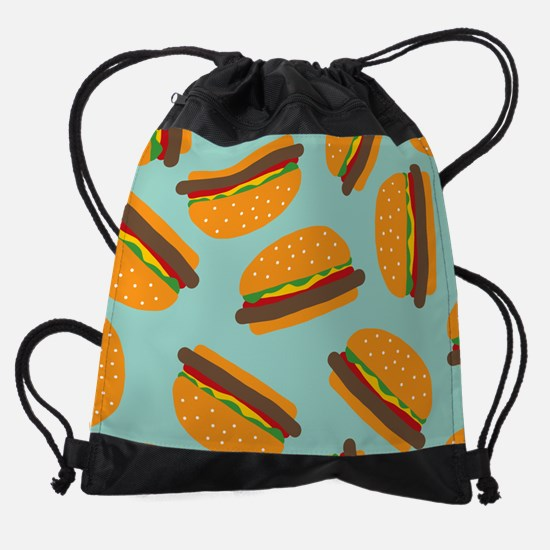 Cute Burger Pattern Drawstring Bag
