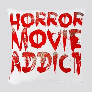 Horror movie addict Woven Throw Pillow