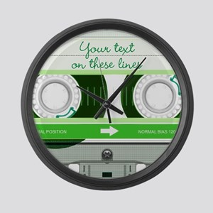 Cassette Tape - Green Large Wall Clock