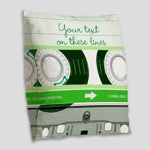 Cassette Tape - Green Burlap Throw Pillow