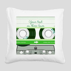 Cassette Tape - Green Square Canvas Pillow