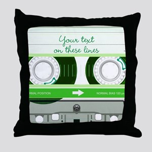Cassette Tape - Green Throw Pillow