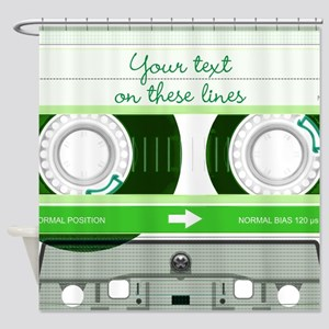 Cassette Tape - Green Shower Curtain