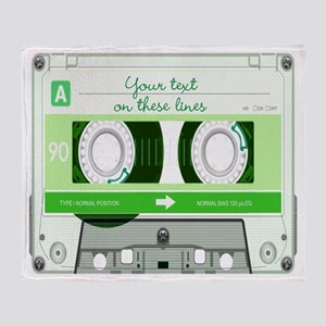 Cassette Tape - Green Throw Blanket
