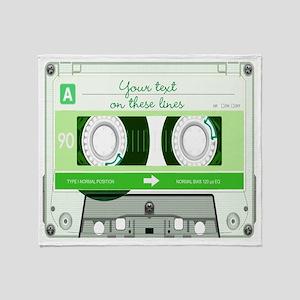 Cassette Tape - Green Throw Blanket