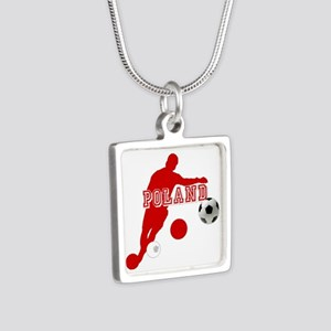 Polish Soccer Player Silver Square Necklace