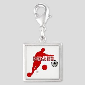 Polish Soccer Player Silver Square Charm