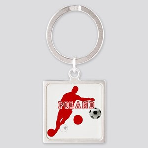 Polish Soccer Player Square Keychain