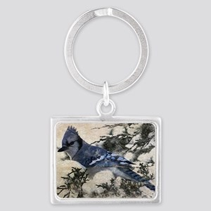 winter snow blue Jay nature cou Landscape Keychain