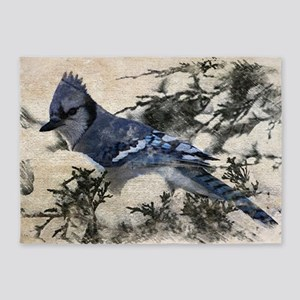 winter snow blue Jay nature country 5'x7'Area Rug